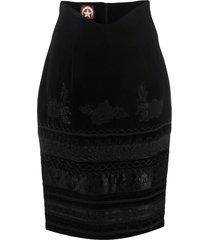a.n.g.e.l.o. vintage cult 1980s velvet effect embroidered pencil skirt