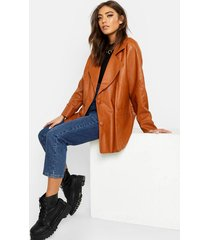 belted wrap faux leather jacket, tan