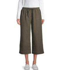 james perse women's cropped drawstring pants - army green - size 3 (l)