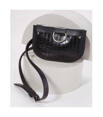 pochete feminina com bolso texturizado de coco com fivela preto