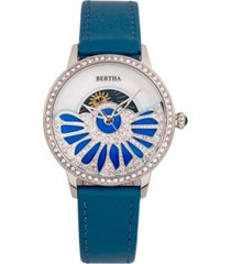 bertha quartz adaline teal genuine leather watch, 37mm
