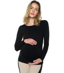 camiseta maternidad mng larga negro moms closet,