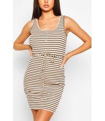 button front stripe mini dress, beige
