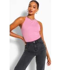 tall rib racer neck top, mauve