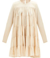 soliman tiered cotton-voile dress