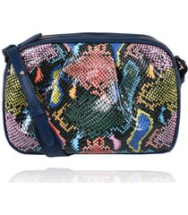 bolsa tiracolo catia couro snake colorido drapeado - azul marinho/cobra/multicolorido - feminino - dafiti