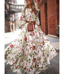 cinturón diseño medias mangas con estampado floral al azar vestido