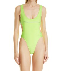 alexander wang cutout one-piece swimsuit, size small in neon celandine at nordstrom
