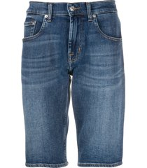 7 for all mankind fitted denim shorts - blue