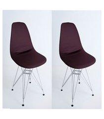kit com 02 capas para cadeira base madeira eiffel wood marrom