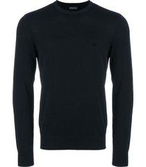 emporio armani slim fit logo sweater - blue