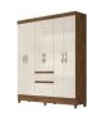 guarda roupa casal cuba 6 portas castanho wood/baunilha - moval