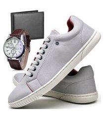 tênis sapatênis casual glamour com carteira e relógio dubuy 940od cinza