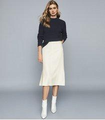 reiss flossie - pleated midi skirt in cream, womens, size 12