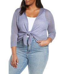 plus size women's nic+zoe 4-way lightweight cardigan, size 1x - purple