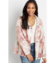 maurices womens pink tie dye cinch waist windbreaker