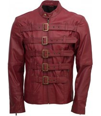 new handmade men maroon belted fashion leather jacket men style
