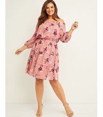lane bryant women's floral tiered off-the-shoulder dress 22 dusty rose