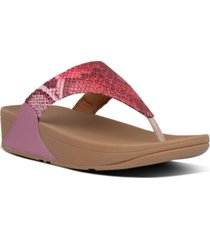 fitflop women's lulu snake-print thong sandals women's shoes