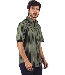 camisa manga corta pmp regular  juego de rayas verde militar