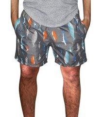 shorts praia estampado azul microfibra com bolsos laterais ref.386.23