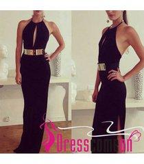 cheap sheath halter black low back black evening dress sexy prom party dresses