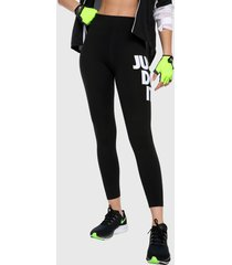 leggings negro-blanco nike lggng club hw swoosh,