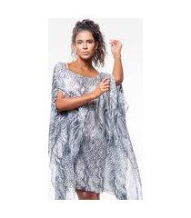 kaftan 101 resort wear vestido crepe estampado animal print preto