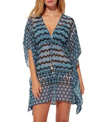 women's bleu by rod beattie island time chiffon cover-up caftan, size medium - blue