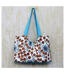cotton tote handbag, 'foliage and stars' (india)