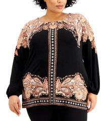 jm collection plus size printed embellished top, created for macy's