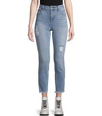 high-rise destroyed skinny crop jeans