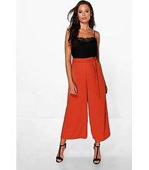 priya tie waist woven wide leg crop trousers