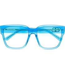 transparent square frame sunglasses blue