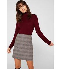 falda midi con cuadros taupe esprit
