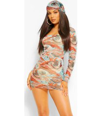 marble print long sleeve mesh bodycon dress, turquoise