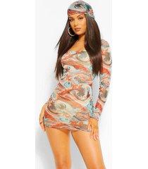 bodycon jurk van mesh met lange mouwen en marmerprint, turquoise