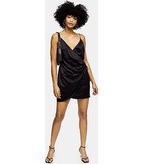 black satin wrap mini slip dress - black