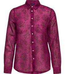 d2. fall flower cot slik shirt overhemd met lange mouwen paars gant
