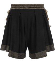 black metallic knit shorts