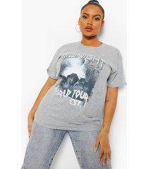 plus oversized midnight tour t-shirt, grey marl