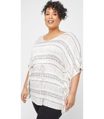dash-stripe poncho tunic