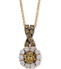"le vian chocolate diamond & vanilla diamond 18"" pendant necklace (3/4 ct. t.w.) in 14k rose gold"