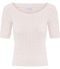 blusa feminina cropped ombro a ombro - off white