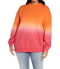 plus size women's bp. dip dye crewneck sweatshirt, size 3x - red