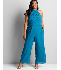 lane bryant women's halter-neck jumpsuit 18 teal