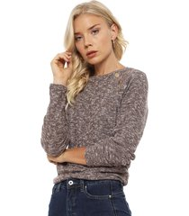 sweater tentation liso marrón - calce regular