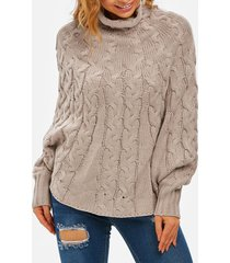 cable knit high neck poncho sweater