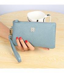gran capacidad cartera para mujer/ billetera con cierre-azul