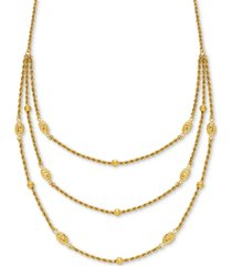 """fancy bead three-row statement necklace 18"""" in 10k gold"""